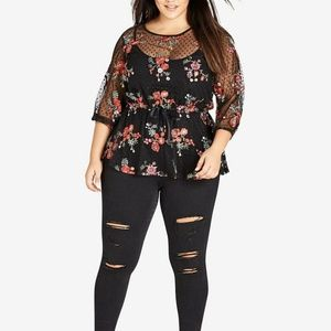 City Chic Embroidered Peplum Top Size M